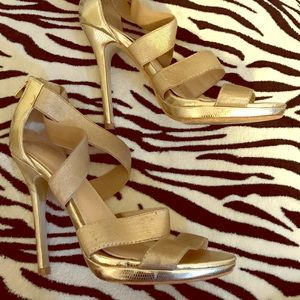 Gold high heel sandal